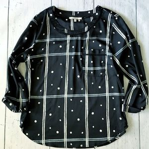 Black & white polka dot windowpane blouse